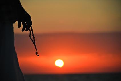 japa mala meditation silhouette