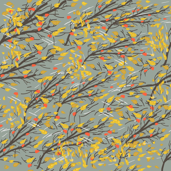 Autumn branches in the strong wind with rain