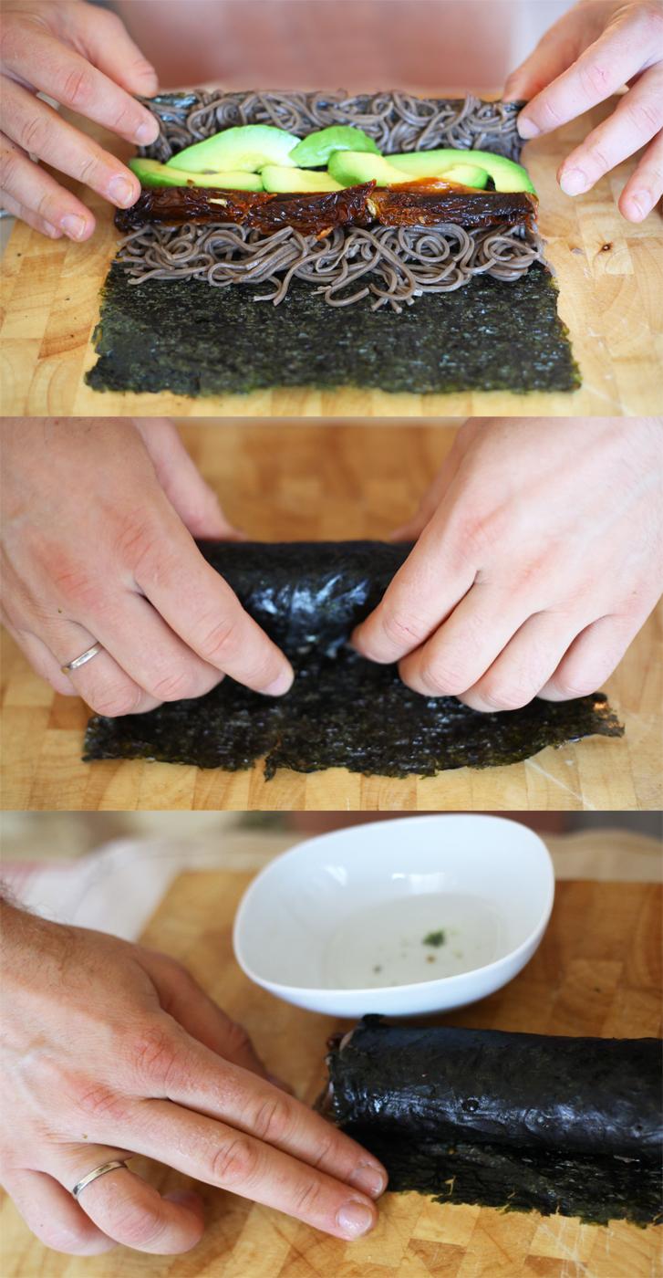 rouler maki nori soba vegetarien legumes sarrasin